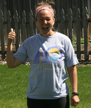 Jean After Hitting Goal and running  her first 12K