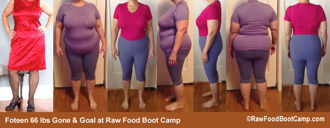 Foteen goal before and afters raw food diet at Raw Food Boot Camp