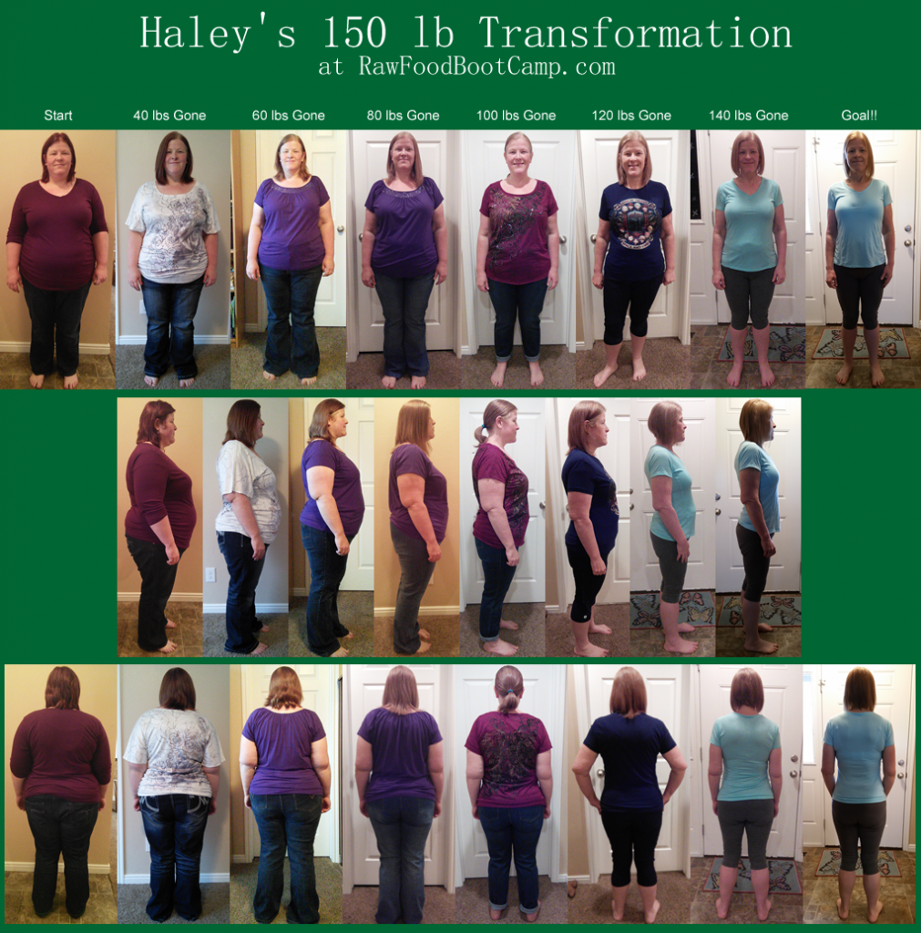 Haley 150 lbs Gone and Goal Obesity Before and Afters with a Raw Food Diet