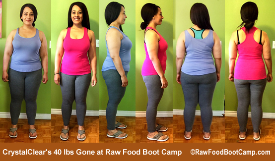 Crystal's 40 lbs gone on a raw food diet at Raw Food Boot Camp