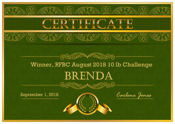 Certificate to honor the winners of our weight loss challenges