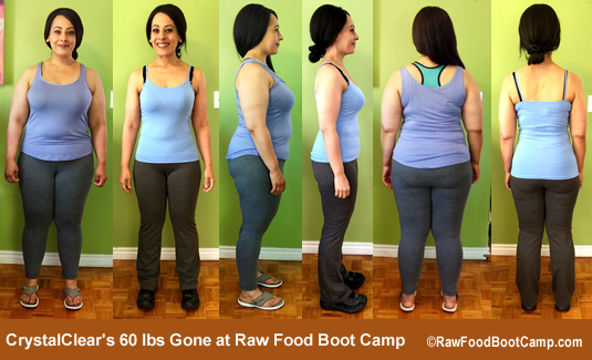 Crystal 60 lbs gone on a raw food diet at Raw Food Boot Camp