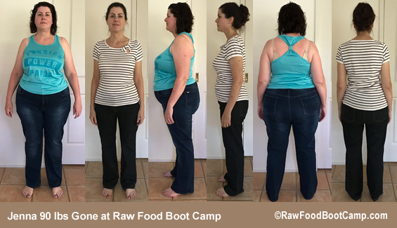 Jenna 90 lbs Gone with a raw food diet at Raw Food Boot Camp